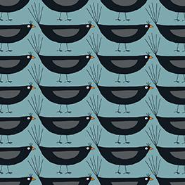 Blackbirds on Blue
