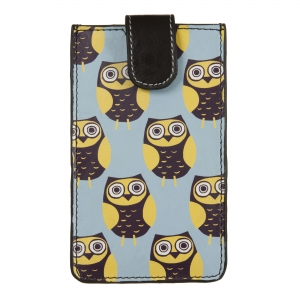 Owls Blue Leather iPhone Sleeve