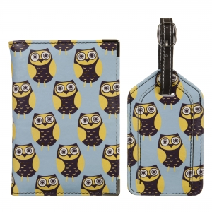 Blue Owls Leather Luggage Tag Set