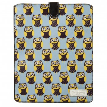 Owls Blue Leather iPad Sleeve