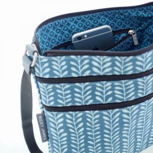 Vine Blue Triple Zip Crossbody