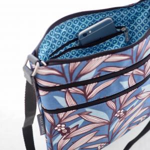 Wildflower Blue Triple Zip Crossbody