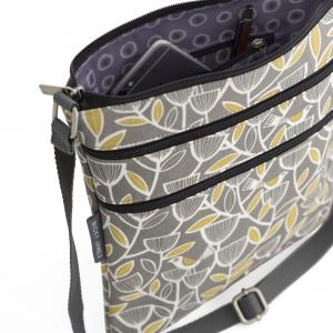 Grey Bird Triple Zip Crossbody