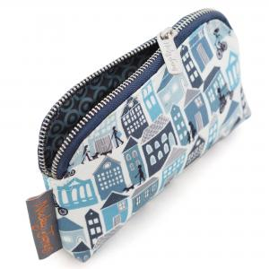 Blue Houses Canvas Mini Make-Up Bag