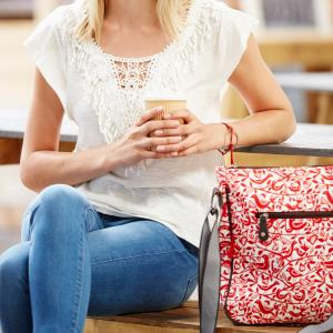Red Doves Print Crossbody Bag
