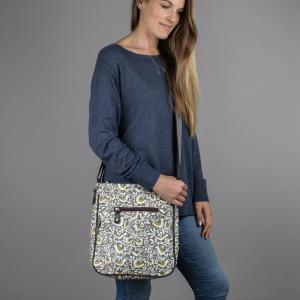 Grey Doves Print Large Crossbody Bag