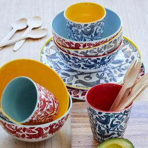 Red Doves Melamine Bowl