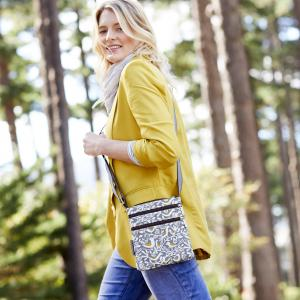 Grey Doves Print Mini Crossbody Bag
