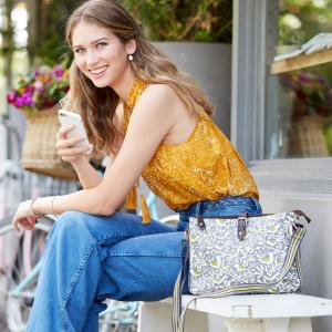 Grey Doves Print Crossbody Day Bag