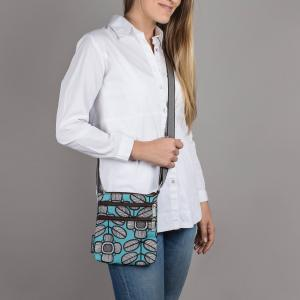 Tribal Leaf Print Mini Crossbody Bag