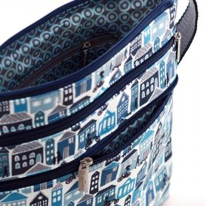 Blue Houses Canvas Flat Crossbody Bag
