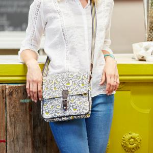 Grey Doves Print Ladies Satchel