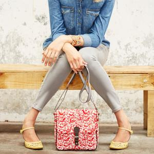 Red Doves Print Ladies Satchel