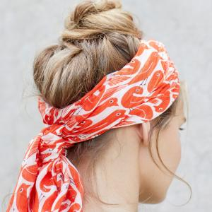 Ladies Scarf / Ladies Hair Scarf Graphic Bird Print