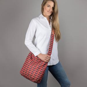 Blackbirds on Red Canvas Shoulder Bag